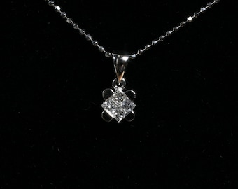 Princess Cut Diamond Pendant (0.24ct) in 18K White Gold