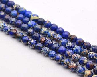 16INCH  Sea Sediment Jasper  imperial Gemstone Deep Blue 6mm Round Beads