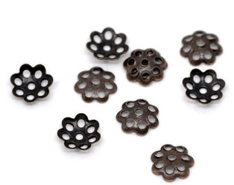 gun metal color bead cap 6mm 50+ pcs