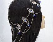 Made to Order - Royal Highness - extra long fantasy headdress, Swarovski Meridian blue Medieval headdress wedding jewelry - Free US Shipping