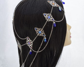 Made to Order - Royal Highness - extra long fantasy headdress, Swarovski Meridian blue Medieval headdress wedding jewelry -