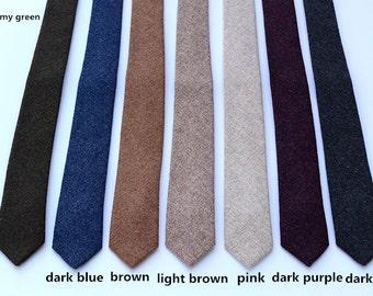 Wool Ties.Mens Neckties.Wedding Ties.Wool Skinny Ties.Neckties for Winter and Fall