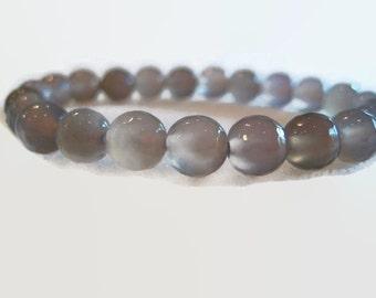 Cloudy Gray Agate Beaded Bracelet