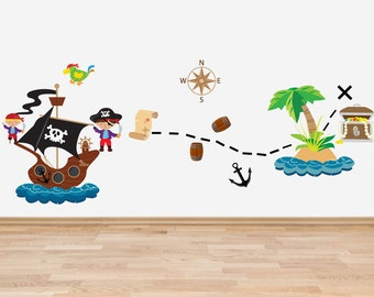 Pirate Theme Decal Set Wall Stickers Full Colour Pirates Pirate Ship Treasure Chest Desert Island Parrot Wall Stickers