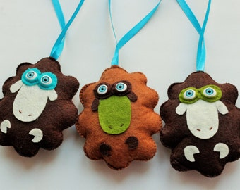 Felt Sheep Ornaments, Handmande Felt Ornament, Home Decor, Set of 3