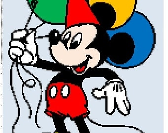 Birthday Mickey Mouse Crochet Graphghan Pattern