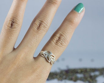Leaf Ring, Silver Leaf Ring, Branch Ring In Silver, Wrap Around Leaf Ring, Leaf Branch Ring, Twig Ring, Sterling Silver Leaf Ring, Vine Ring