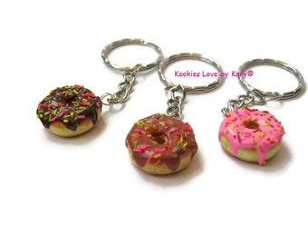 Three keychain donuts (The price includes 3 keychains), donuts polymer clay bff chain cute kawaii miniature food unique best friend forever