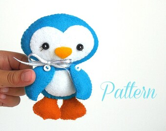Penguin Christmas Ornament PDF Sewing Pattern-Ornament pattern-Penguin toy-Stocking stuffer-Felt ornament pattern-Christmas decor