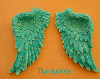 Beautiful Vintage Antique Style Shabby Chic Turquoise Angel Wings Wall Art Decoration