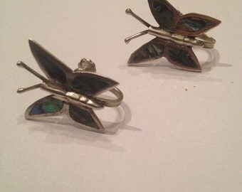 Vintage Taxco Sterling Silver Abalone Butterfly Earrings Eagle 1 AM Mexico