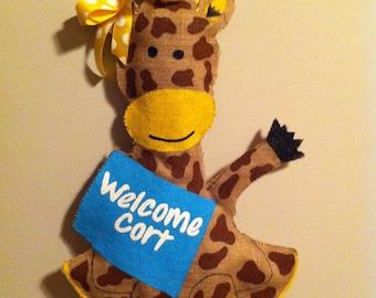 Welcome Home Baby Burlap Giraffe Door Hanger