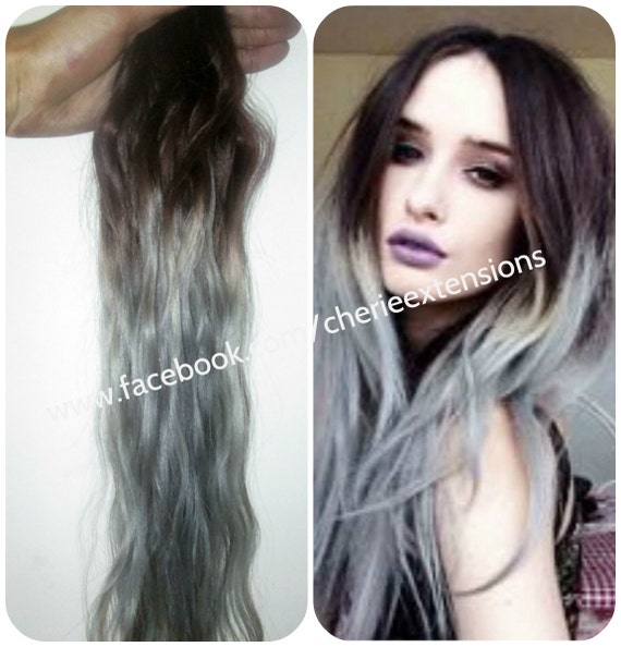 Sale ombre balayage grey human weft weave hair extensions like this item pmusecretfo Images