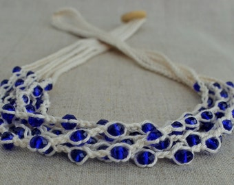Cotton necklace with ultramarine glass crystal beads Multi strand necklace Crochet beaded necklace