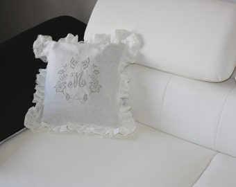 cushion in linen monogrammed handmade