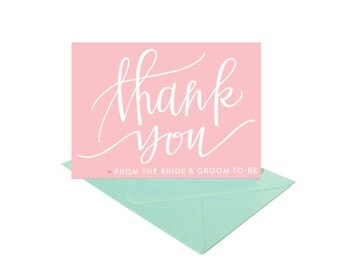 Thank You Cards from the Bride and Groom To-Be - Pink & Mint - Set of 8