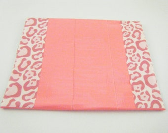 Pink Duck tape coin purse / card holder / change purse with pink animal print trim.