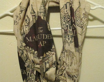 Harry Potter Marauder's Map Scarf...Infinity Scarf...Hogwarts...Harry Potter gift