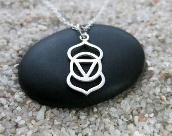 Third Eye Chakra Necklace, Sterling Silver Third Eye Chakra Charm, Chakra Jewelry