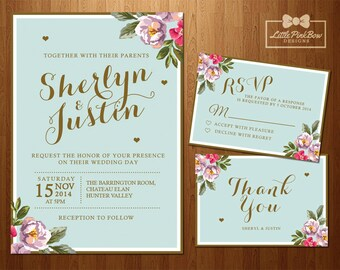 Floral Mint Gold Wedding Invitation, RSVP, Thank You Card, Printable Wedding Invitation Set; Floral Mint Wedding Invitation Set Printable