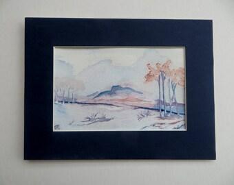 Winter Trees, ORIGINAL Watercolor Landscape, 4x6