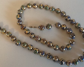 Vintage Chinese hand tied Cloisonne Beaded necklace