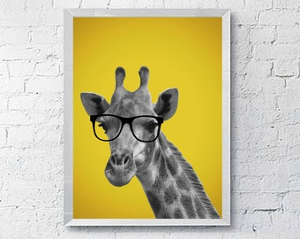 Giraffe with Glasses, Printable Wall Art Sign, Instant Download, 8x10