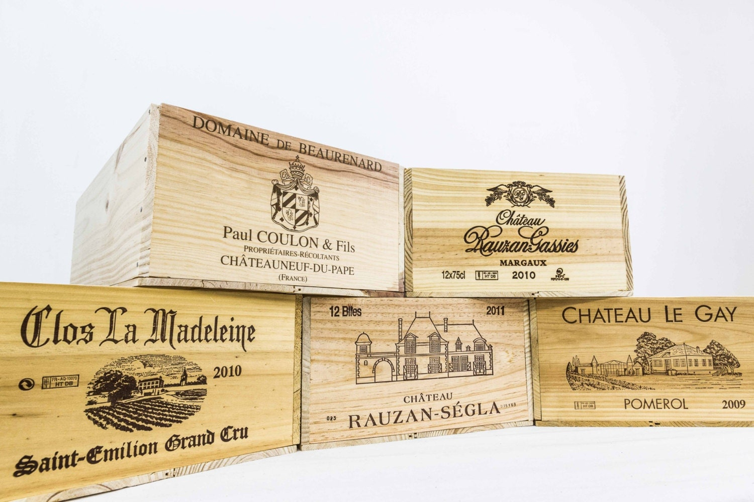 Assorted european wooden wine crates for Where to buy used wine crates