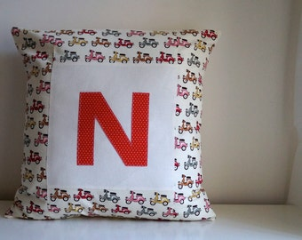 Personalised cushion cover with Initial : Little Vespa 18""