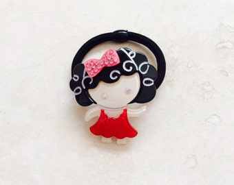 Girl Curly Hair with Crystal Ponytail Holder Hair Tie Elastic Band Adorable
