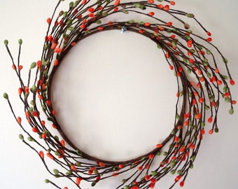 Wreath,  Orange Berry Candle Ring - Wreath, Twig Wreath, Fall Decor, Pantry Door Wreath