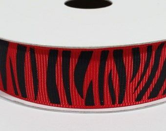"""7/8"""" Grosgrain Zebra Ribbon - Red"""