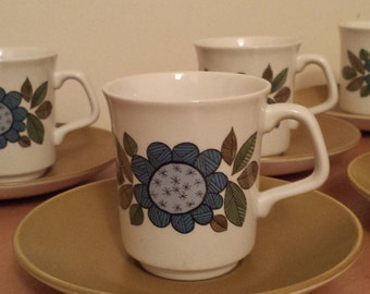 Set of 6 Meakin 'Topic' Design Coffee Cups by Alan Rogers 1967