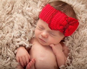 Hand Crochet Baby Hat ChristmasHeadband with Bow Photography Photo Prop Newborn- 6 Months Girls UK Seller Red Christmas