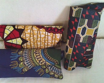 beautiful statement African print clutch bag. Handmade and fabric sourced from East Africa