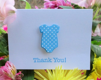 Baby Shower Thank You Card Set, Blue Polka Dot Onesie, Boy, 25 cards