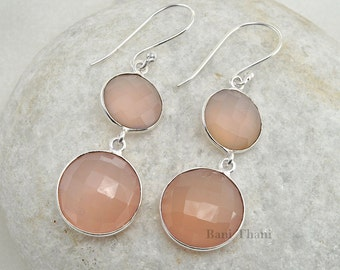 Pink Chalcedony 10mm And 15mm Gemstone Earring - Dangle Earrings - Bridesmaid Gift Bridal Earrings -  Bridal Jewelry - #1471