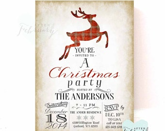Holiday Party Invitation - Reindeer Invitation - Christmas Party - Beige Brown Gray Red Plaid Reindeer - Printable No.546XMAS