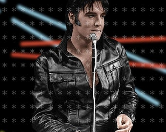 Fabric Art Quilt Block Elvis Presley   EP98- FREE SHIPPING