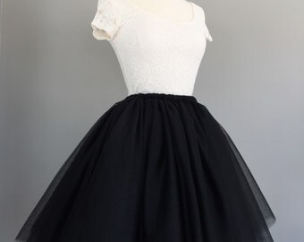 Black Tulle skirt- Adult Bachelorette Tutu- black tutu, any length