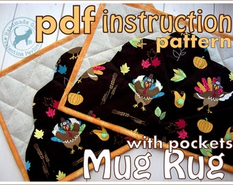 PDF sewing pattern Mug Rug with pockets/Simple and easy to sew/ PDF Pattern tablemat/Instant Download/pattern placemat/mug rug sewing pdf/