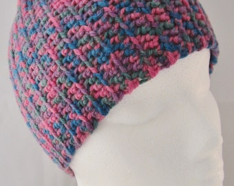Cap-Men's/Boy's-Sporty cap is crochet in a multicolored acrylic yarn of blue, lavender, green & pink.The gals will like it too.Great gift.