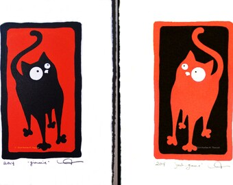 Double-Listing: buy both - gimmie, and, yeah..gimmie kitty, silkscreen prints