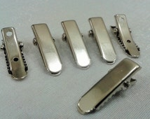 20 Pcs Silver Tone 7x22 mm Alligator Metal Hair Clips , Connector