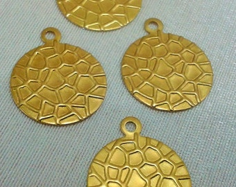 50 Pcs Raw Brass  16 mm Round Snake Pattern Findings , Charms ,
