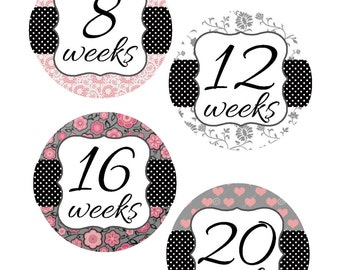 Weekly Pregnancy Stickers, Pregnancy Announcement, Pregnancy Belly Stickers, Pregnancy Photo Prop, Maternity Stickers, P02