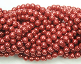 Carnelian Red Pearl, Czech Round Glass Imitation Pearls in 2mm, 3mm, 4mm, 6mm, 8mm, 10mm