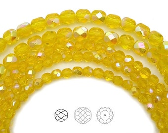 6mm (68pcs) Citrine AB coated color, Czech Fire Polished Round Faceted Glass Beads