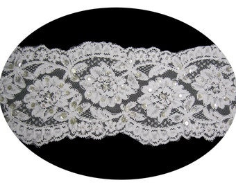 5 inches wide -- White or Ivory Bridal Pearl Beaded Sequins Corded Floral Lace Trim Sewing Notions Cording Trimming Supplies 50061CB