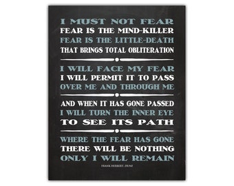 Printable quote art - dune - book quote art - zen print - sci fi art - meditation art - motivational wall decor - wisdom quote - zen art